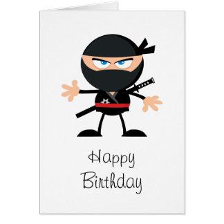 Cartão Feliz aniversario de Ninja dos desenhos animados