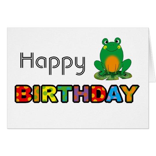Cartão Feliz aniversario de sapo verde
