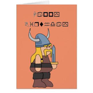 Cartão Feliz aniversario de Wingding Viking