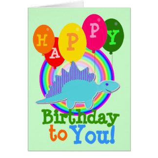 Cartão Feliz aniversário dinossauro azul dos desenhos