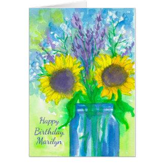 Cartão Feliz aniversario do buquê do girassol da lavanda