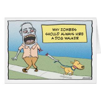 Cartão Feliz aniversario do caminhante engraçado do cão