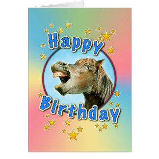 Cartão Feliz aniversario do cavalo de riso