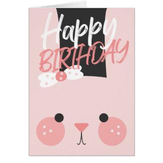 Cartão Feliz aniversario do coelho cor-de-rosa adorável