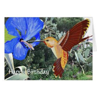 Cartão Feliz aniversario do colibri e do hibiscus azul