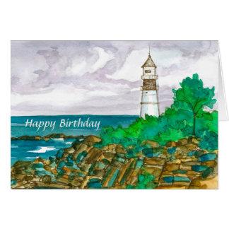 Cartão Feliz aniversario do farol de Maine