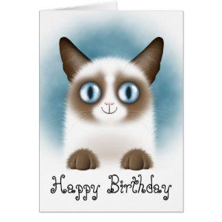 Cartão Feliz aniversario do gatinho Siamese curioso