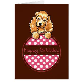 Cartão Feliz aniversario do Hangtag da polca de cocker