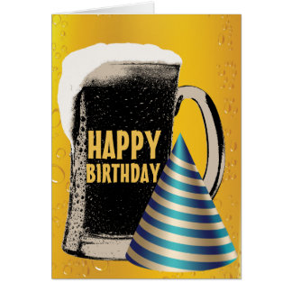 Cartão Feliz aniversario do happy hour da cerveja
