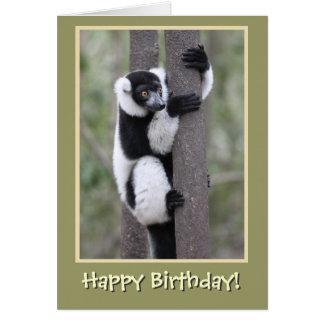 Cartão Feliz aniversario do Lemur preto e branco