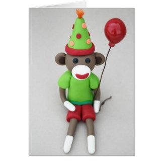 Cartão Feliz aniversario do macaco da peúga com balão
