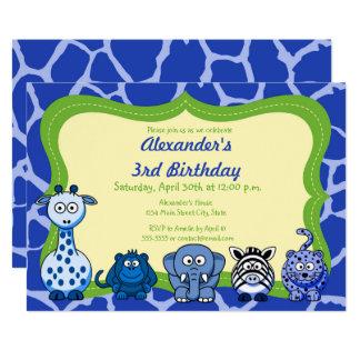 Cartão Feliz aniversario do menino do animal selvagem de