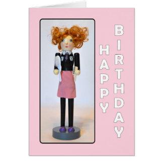 Cartão Feliz aniversario do Nutcracker do cabeleireiro