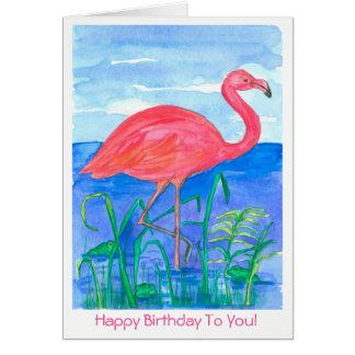 Cartão Feliz aniversario do pássaro cor-de-rosa do