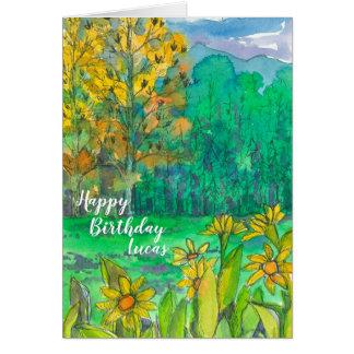 Cartão Feliz aniversario do prado da montanha do outono