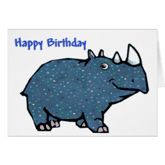 Cartão Feliz aniversario do rinoceronte azul