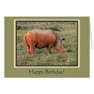 Cartão Feliz aniversario do rinoceronte enlameado