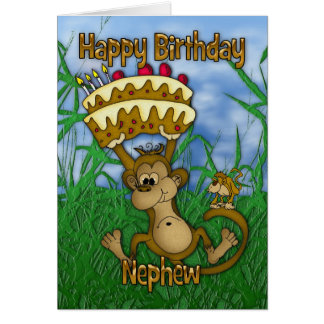 Cartão Feliz aniversario do sobrinho com o bolo da terra