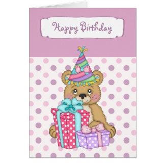Cartão Feliz aniversario do urso de Polkadot da lavanda