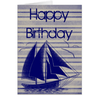 Cartão Feliz aniversario do veleiro náutico