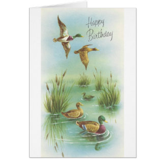 Cartão Feliz aniversario do vintage com patos