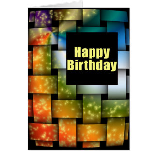 Cartão Feliz aniversario do Weave da cor