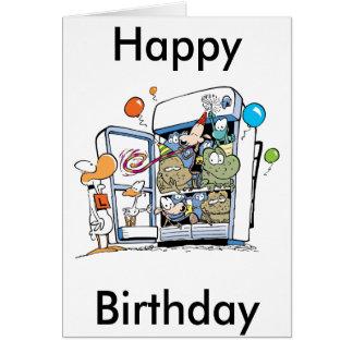 Cartão Feliz aniversario dos animais dos desenhos