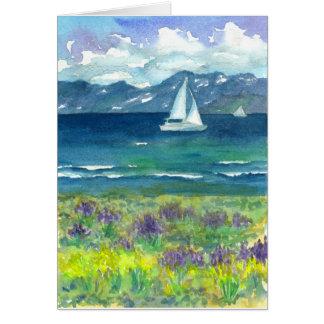 Cartão Feliz aniversario dos Lupines do lago mountain da