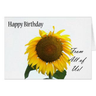 Cartão Feliz aniversario dtodos nós - girassol