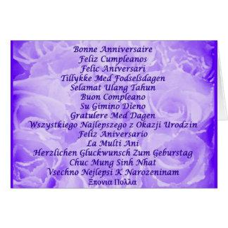 Cartão Feliz aniversario em muitas línguas