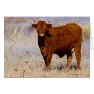 Cartão Feliz aniversario engraçado da vaca vermelha nova