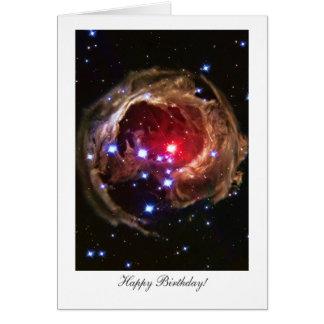 Cartão Feliz aniversario, estrela Supergiant vermelha