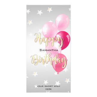 Cartão Feliz aniversario estrelado à moda e balões