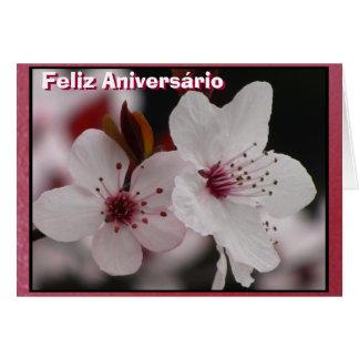 Cartão - Feliz Aniversário - Flores de Cerezo