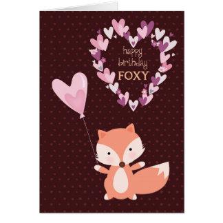 Cartão Feliz aniversario Foxy com corações