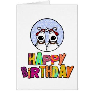 Cartão Feliz aniversario - Gêmeos