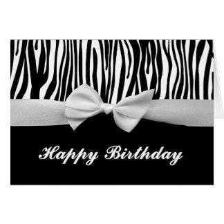 Cartão Feliz aniversario gráfico da listra da zebra & da