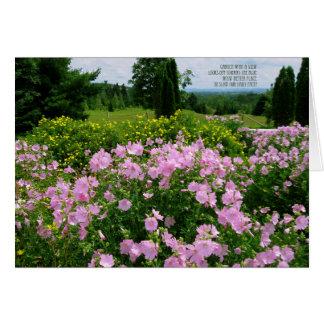 Cartão Feliz aniversario - jardim com uma vista