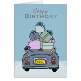 Cartão Feliz aniversario Lapis Nissan Figaro cinzento,