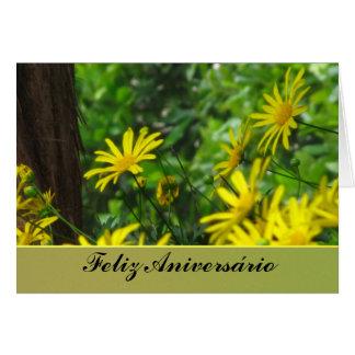 Cartão - Feliz Aniversário - Margaritas Amarillas