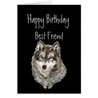 Cartão Feliz aniversario, melhor amigo, lobo, lobos,