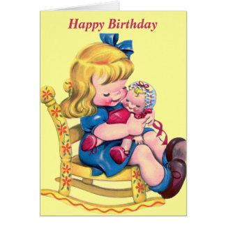 Cartão Feliz aniversario - menina com boneca