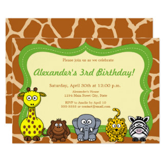 Cartão Feliz aniversario neutro de animal selvagem de