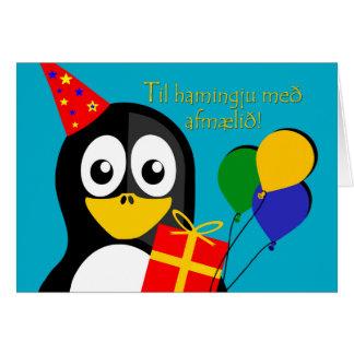 Cartão Feliz aniversario no pinguim islandês, bonito