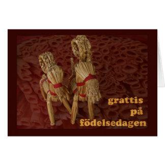 Cartão Feliz aniversario no sueco