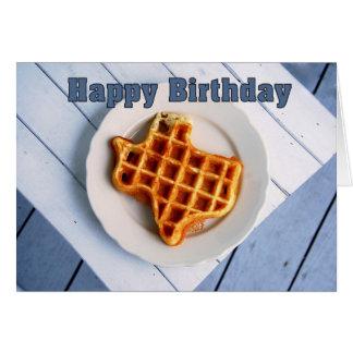 Cartão Feliz aniversario, o 24 de agosto, Waffle de Texas