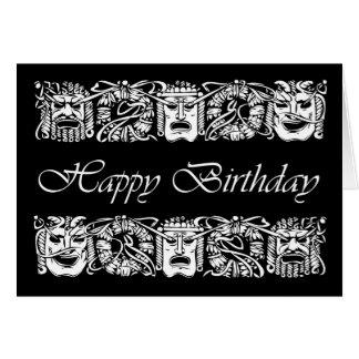 Cartão Feliz aniversario para o ator, máscaras de