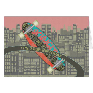 Cartão Feliz aniversario para o fragmento do skate do