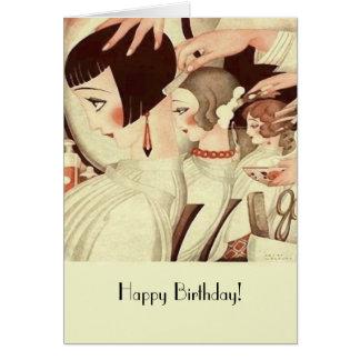 Cartão Feliz aniversario para um cabeleireiro