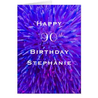 Cartão Feliz aniversario, personalizado, abstrato do roxo